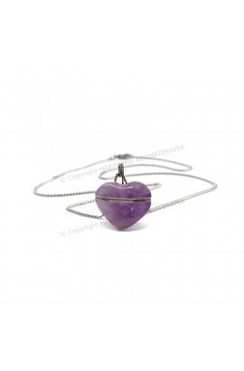 Difusor Pedra Coração Ametista Aço Inox
