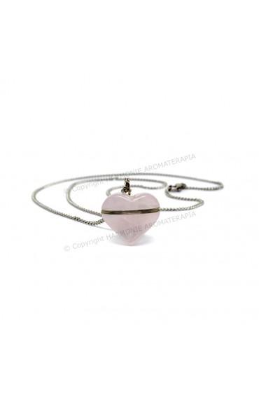 Difusor Pedra Coração Quartzo Rosa Aço Inox