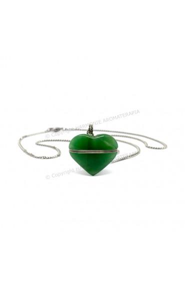 Difusor Pedra Coração Quartzo Verde Aço Inox