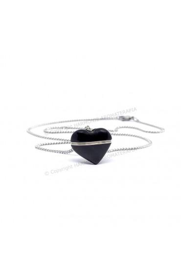 Difusor Pedra Coração Obsidiana Aço Inox