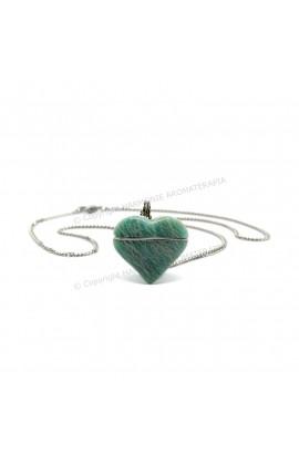 Difusor Pedra Coração Amazonita Aço Inox